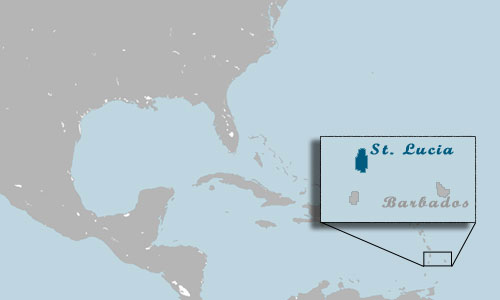 St. Lucia Location Map - Click for close-up of St. Lucia.