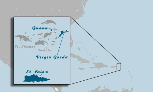 BVI Location Map - Click for close-up of Guana.
